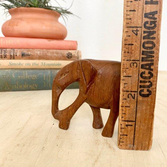 Vintage Small Wood Carved Elephant